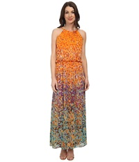 Maggy London Painterly Spot Chiffon Blouson Maxi Orange Aqua Women's Dress Multi