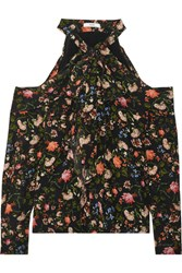 Erdem Aila Cold Shoulder Floral Print Silk Crepe De Chine Top Black
