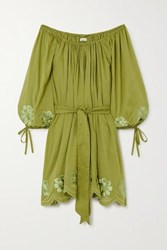 Innika Choo Frida Burds Off The Shoulder Embroidered Cotton Voile Mini Dress Army Green