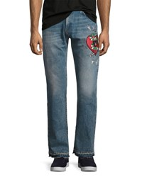 Gucci Denim Straight Pants W Embroidery Blue Stone Bleach Wash Light Blue