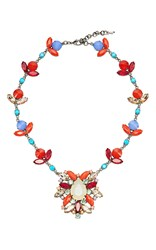 Sharra Pagano Blue And Red Crystal Necklace Multi