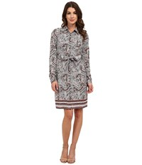 Nydj Bernadette Paisley Border Shirt Dress Haute Chocolate Women's Dress Multi