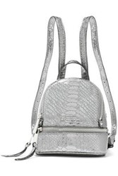 Michael Michael Kors Woman Metallic Snake Effect Leather Backpack Gunmetal