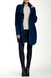 Luma Side Zip Wool Blend Sweater Coat Blue