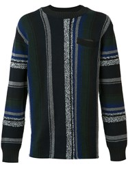 Sacai Mexican Stripe Knit Jumper Blue