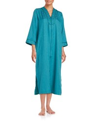 Miss Elaine Floral Embroidered Zip Up Duster Robe Blue