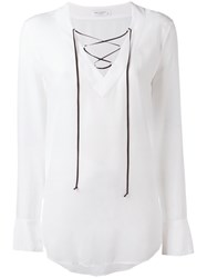 Equipment Lace Up Flared Sleeve Blouse Women Silk L White