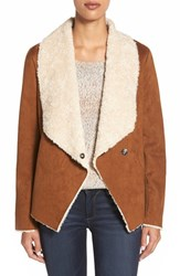 Women's Bernardo Faux Shearling Waterfall Jacket Camel