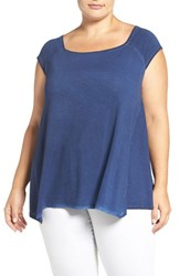 Dantelle Plus Size Women's Square Neck Swing Tee New Blue