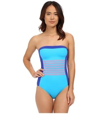 Dkny A Lister Bandeau Maillot W Stripping Detail Removable Soft Cups Electric Women's Swimsuits One Piece Blue