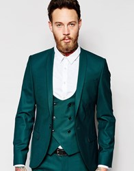 Noose And Monkey Suit Jacket With Stretch And Shawl Lapel In Skinny Fit Green