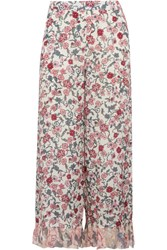 See By Chloe Cropped Ruffled Floral Print Crepe De Chine Wide Leg Pants Off White
