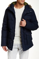 Ben Sherman Faux Fur Trim Arctic Parka Blue