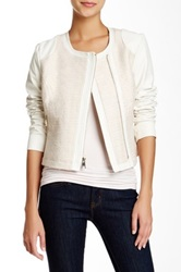 Steve Madden Faux Leather And Tweed Jacket White