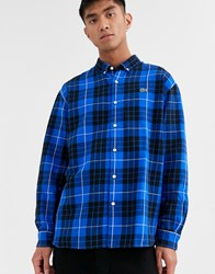 Lacoste L Ve Logo Check Shirt With Button Down Collar In Blue