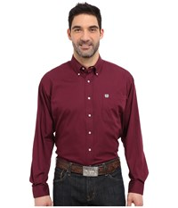 Cinch Long Sleeve Button Down Solid Burgundy Men's Long Sleeve Button Up