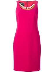 Boutique Moschino Chain And Faux Pearl Trim Dress Pink And Purple