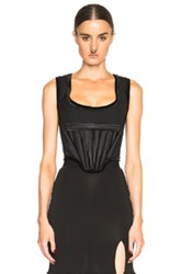 Givenchy Cotton Poplin Bustier With Chiffon In Black