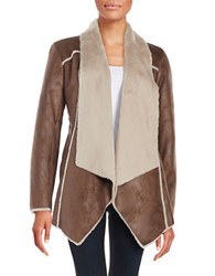 Bcbgeneration Faux Shearling Open Front Jacket Brown