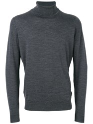 John Smedley Roll Neck Jumper Men Virgin Wool M Grey