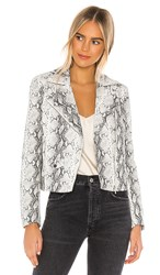 Cupcakes And Cashmere Beatrix Snake Moto Jacket In White.