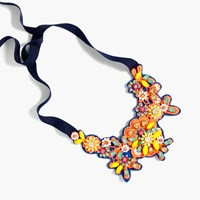 J.Crew Embroidered Crystal Bib Necklace