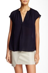 Zoa Split Neck Cap Sleeve Silk Blouse Blue