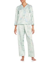 Miss Elaine Two Piece Floral Pajama Set Sage