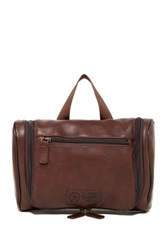 Original Penguin Leather Hanging Toiletry Travel Kit Brown