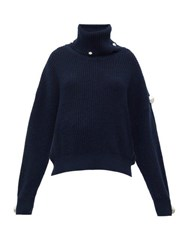 Christopher Kane Dome Embellished Roll Neck Sweater Navy