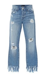 3X1 Mid Rise Distressed Straight Leg Jeans Blue