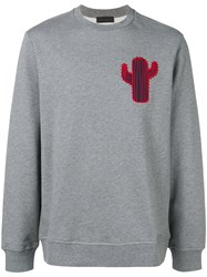 Diesel Black Gold Boxy Sweatshirt With Cactus Patch Grey