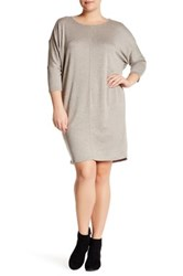 Bobeau Cocoon French Terry Dress Plus Size Brown