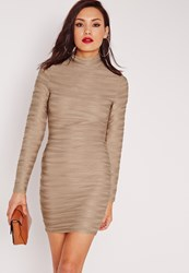 Missguided Textured Rib Bodycon Dress Nude Brown