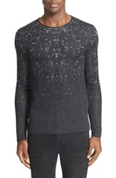 John Varvatos Men's Collection Silk And Cotton Jacquard Crewneck Sweater