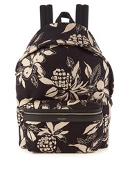 Saint Laurent Hibiscus Print Canvas Backpack Black Multi