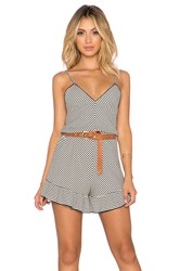 The Ldrs Double V Striped Romper Black And White