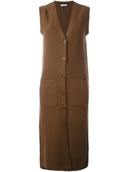 P.A.R.O.S.H. Sleeveless Long Fit Cardi Coat Brown