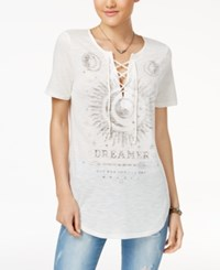 Hybrid Juniors' Mystical Lace Up Top Pearl