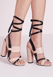 Missguided Contrast Ankle Tie Block Heel Sandals Nude Beige