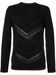 Balmain Pointelle Chevron Jumper Black