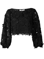 Milly Embroidered Blouse Women Silk Nylon Polyester 2 Black