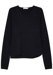 Schumacher Midnight Blue Contrast Sleeve Wool Jumper
