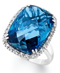 Macy's 14K White Gold Ring London Blue Topaz 15 Ct. T.W. And Diamond 1 5 Ct. T.W. Rectangle Ring