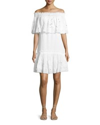Roberto Cavalli Off The Shoulder Ruffle Eyelet Lace Dress White
