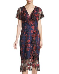 Jax Embroidered Ruffled Cocktail Dress Blue Red