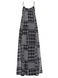 Velvet By Graham And Spencer Mali Geometric Print Maxi Dress Navy