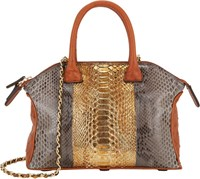 Zagliani Python And Ostrich Mini Tomodachi Bag Multi