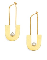 Herve Van Der Straeten 8.5Mm White Pearl Hammered Drop Earrings Gold