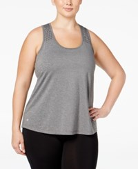 Ideology Plus Size Performance Racerback Tank Top Only At Macy's Charcoal Heather
